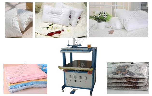 Vacuum packing machine for pillows